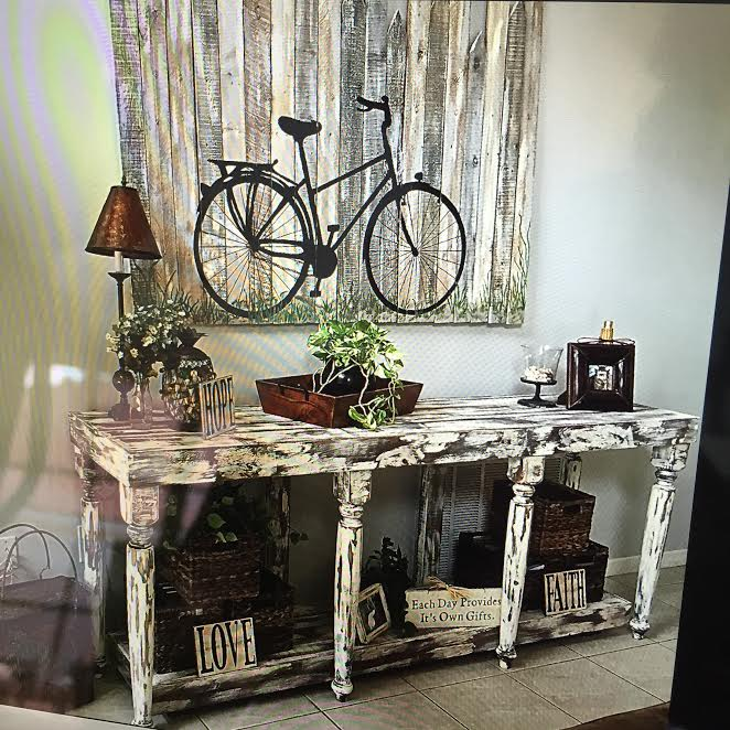 console table and wall art